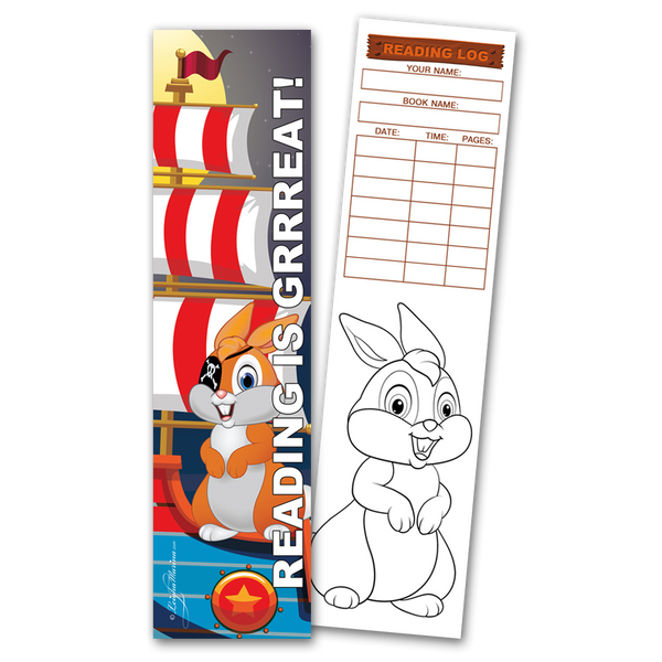 30 Pirate Bunny 'Reading is Grrreat!' Coloring Bookmarks with Reading Logs
