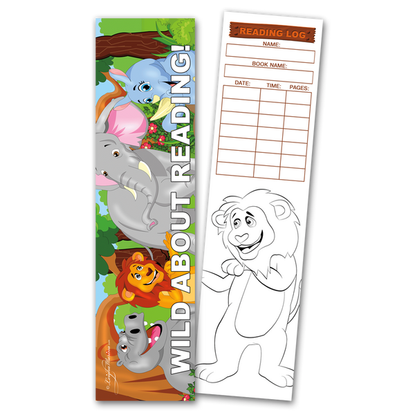 30 Jungle 'Wild About Reading!' Coloring Bookmarks with Reading Logs