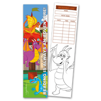 30 Dragons 'Reading is Always an Adventure!' Coloring Bookmarks with Reading Logs