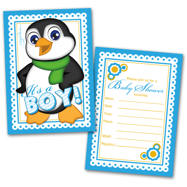 20 Baby Shower Cards and 20 Envelopes 'It's a Boy' Penguin