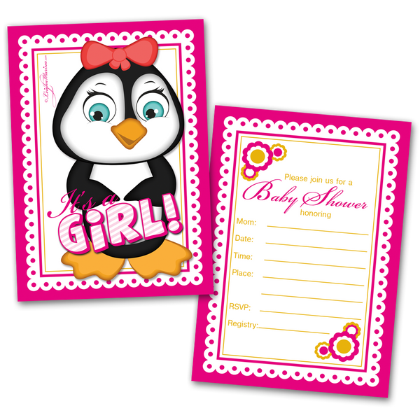 20 Baby Shower Cards and 20 Envelopes 'It's a Girl' Penguin