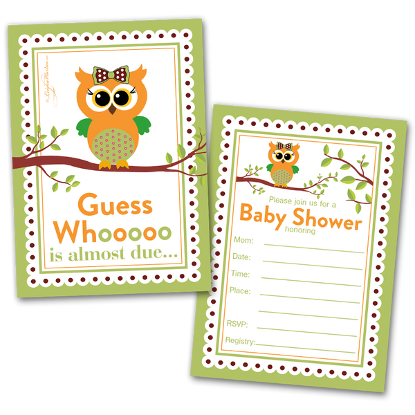 20 Baby Shower Cards and 20 Envelopes 'Guess Who is Almost Due'