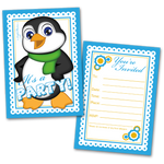 20 Kids Party Invitation Cards Boy Penguin and 20 Envelopes