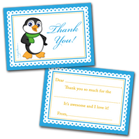 10 Kids Thank You Cards Boy Penguin and 10 Envelopes