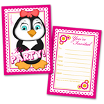 20 Kids Party Invitation Cards Girl Penguin and 20 Envelopes