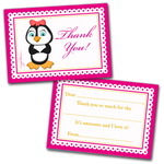 10 Kids Thank You Cards Girl Penguin and 10 Envelopes