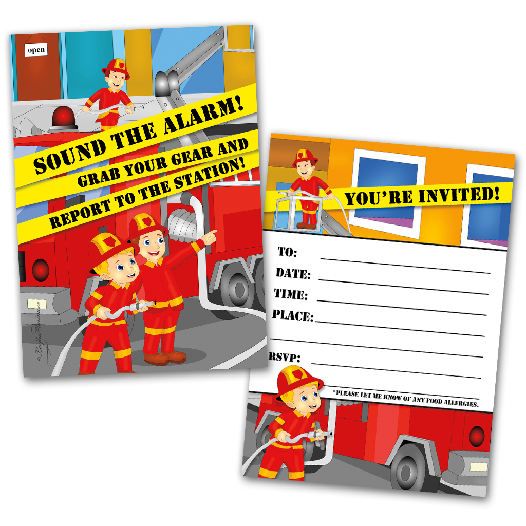 20 Kids Party Invitation Cards Fireman Themed and 20 Envelopes ...