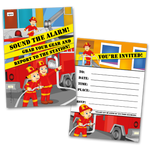 20 Kids Party Invitation Cards Fireman Themed and 20 Envelopes