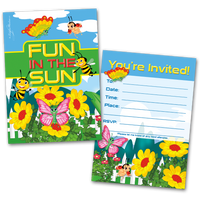 20 Kids Party Invitation Cards Bugs Themed and 20 Envelopes