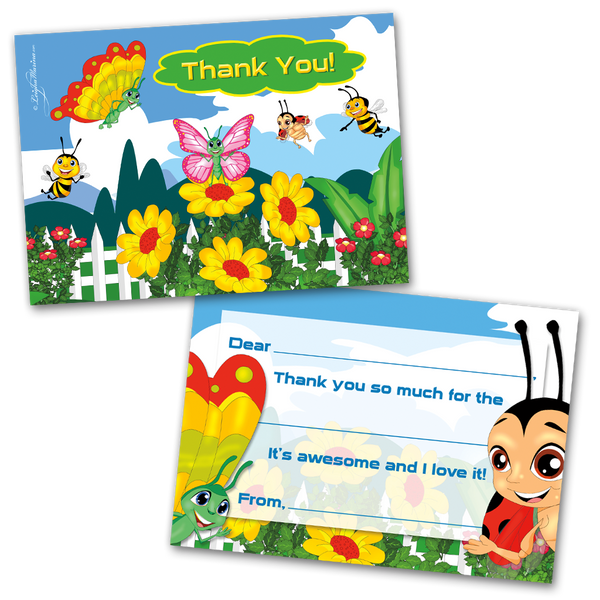10 Kids Thank You Cards Bugs Themed and 10 Envelopes