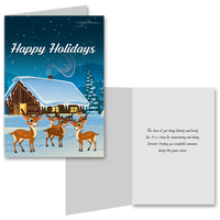 15 Greeting Cards and 15 Envelopes 'Happy Holidays Log House and Reindeers'