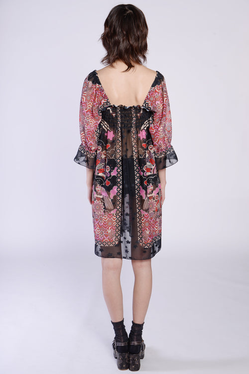 Peacock Border Clipped Jacquard Smock Dress - Anna Sui