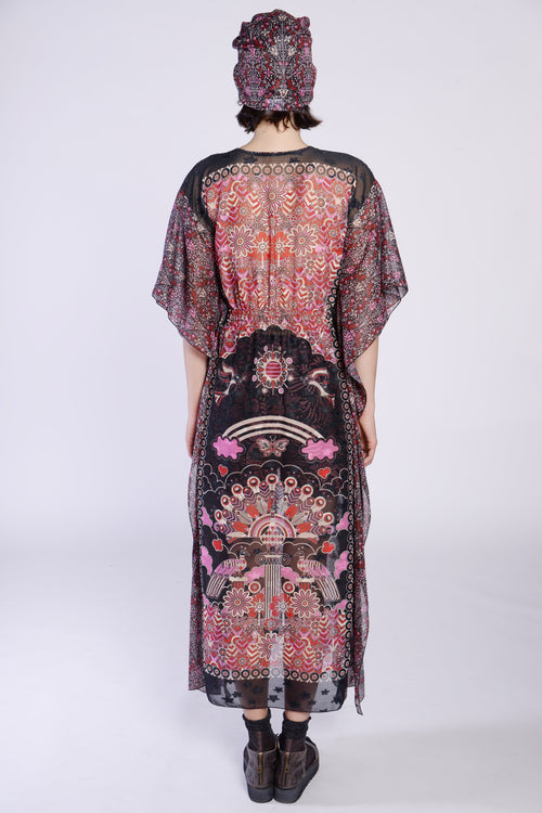Peacock Border Clipped Jacquard Caftan - Anna Sui