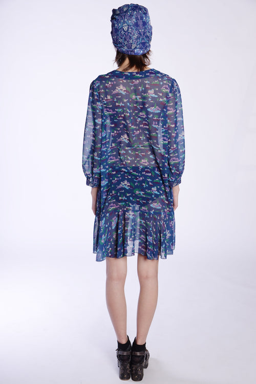 Little Village Chiffon Long Sleeve Dress - Anna Sui
