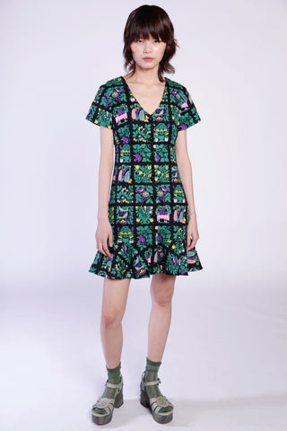 Hearts Crepe De Chine Mock Neck Dress