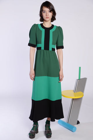 Colorblock Crepe Sleeveless Dress