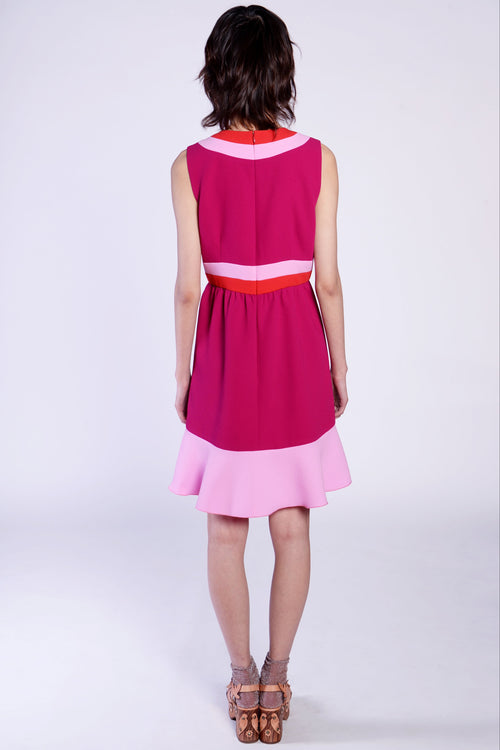 Colorblock Crepe Sleeveless Dress - Anna Sui