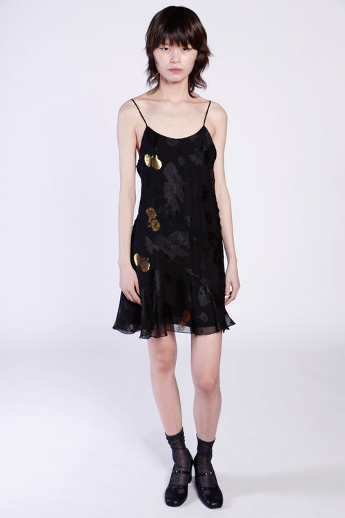 Midnight Shadows Floral Jacquard Slip Dress - Anna Sui