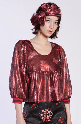 Wild Cherry Border Chiffon Tie Blouse