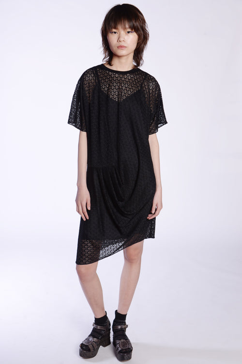 Crochet Knit Lace Drape Dress - Anna Sui