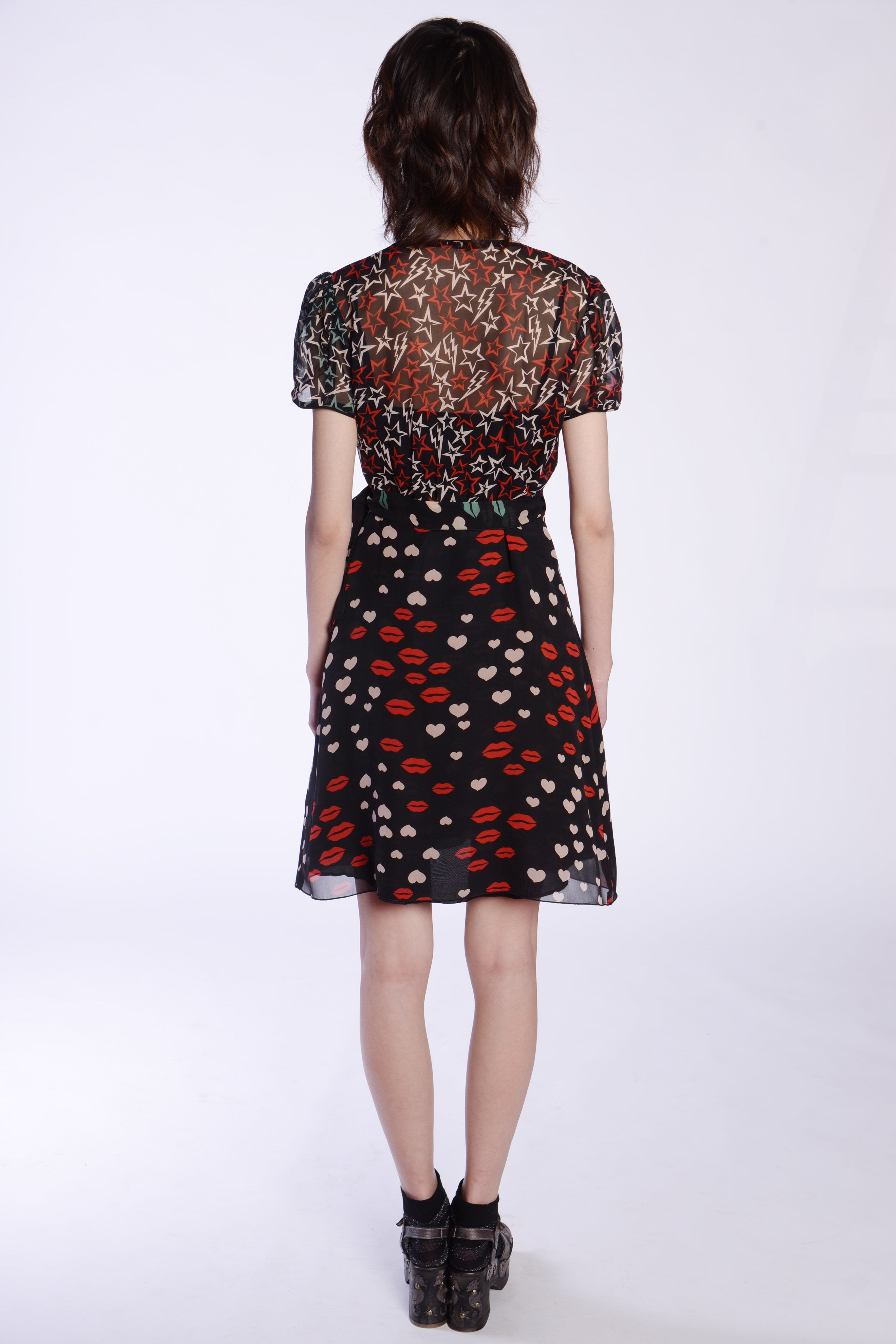 Sweetheart's Kiss Chiffon Wrap Dress - Anna Sui