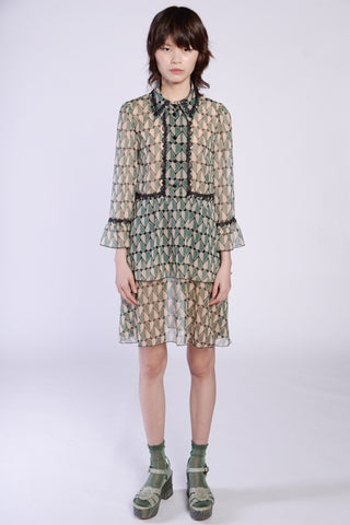 Peacock Border Clipped Jacquard Smock Dress
