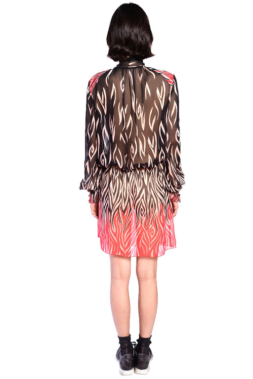 Love's Flame Chiffon Tie Front Dress - Anna Sui