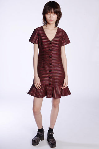 Hearts Crepe De Chine Button Up Dress