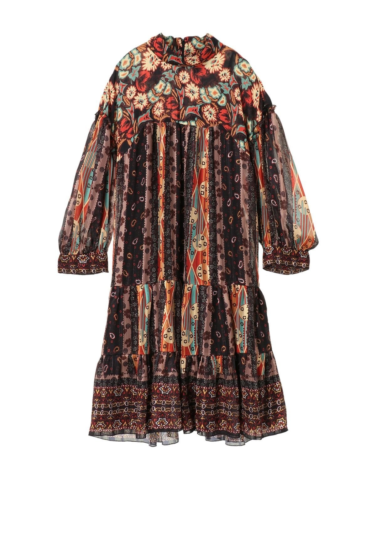 Paisley Border Mock Neck Dress - Anna Sui