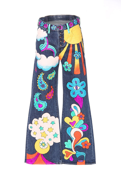 Groove Is In The Heart Hand Painted Levi's Denim Pant