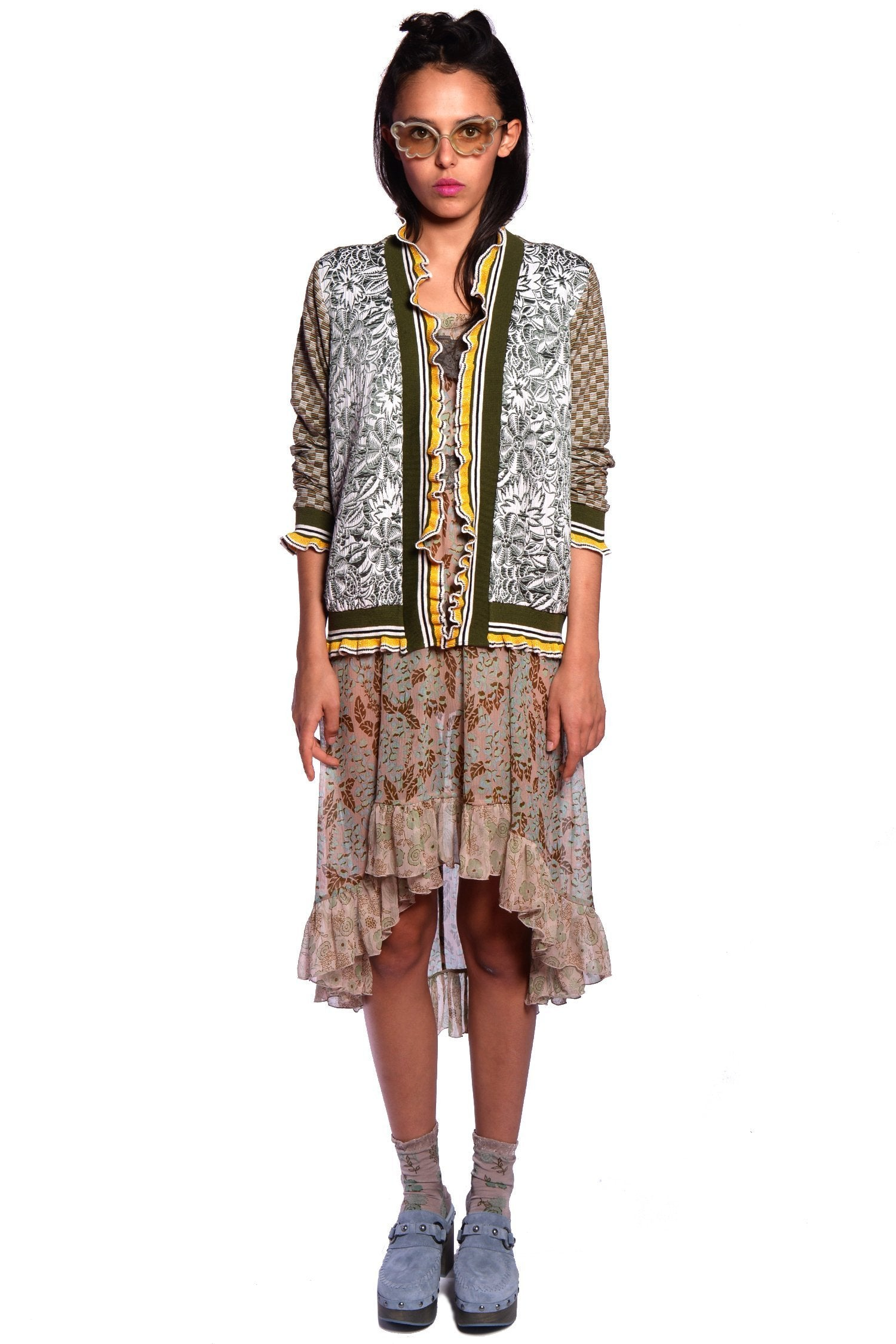 Jungle Gardenia Jacquard Sweater - Anna Sui