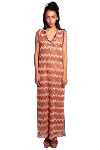 Pom Pom Wreath Border Print Maxi Dress