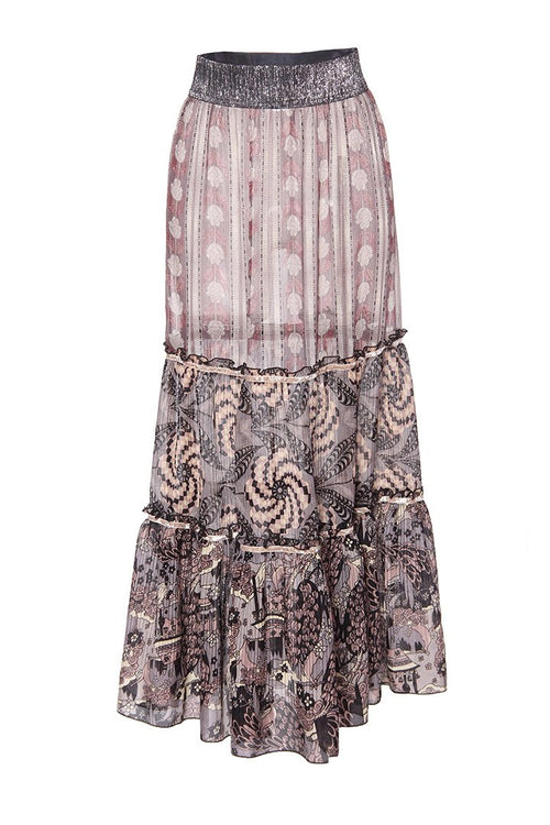 Ribbons of Roses Lurex Jacquard Skirt
