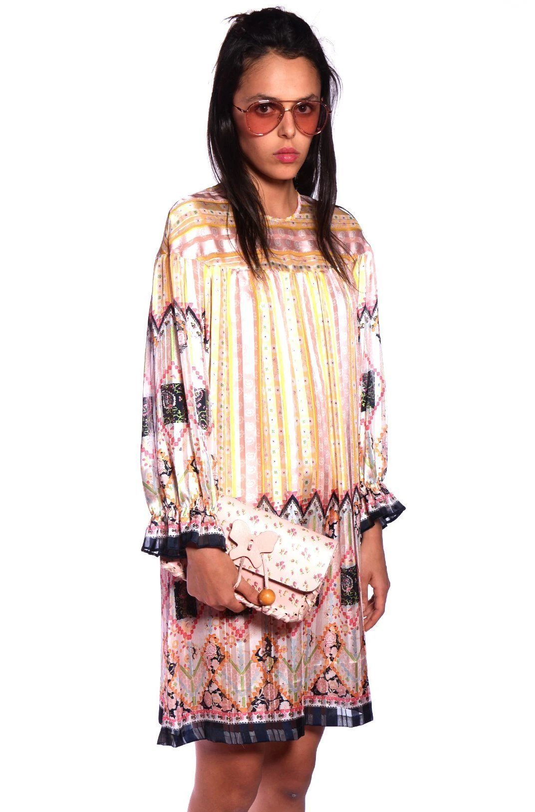 Botanical Patchwork Tunic Dress - Anna Sui