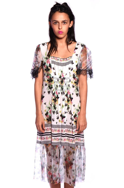 Bouquet Bordered Butterflies Dress - Anna Sui