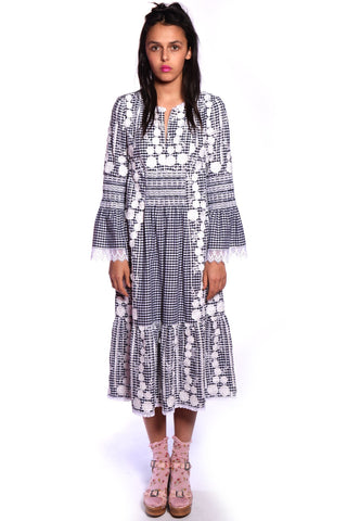 Paisley Garden Border Peasant Dress