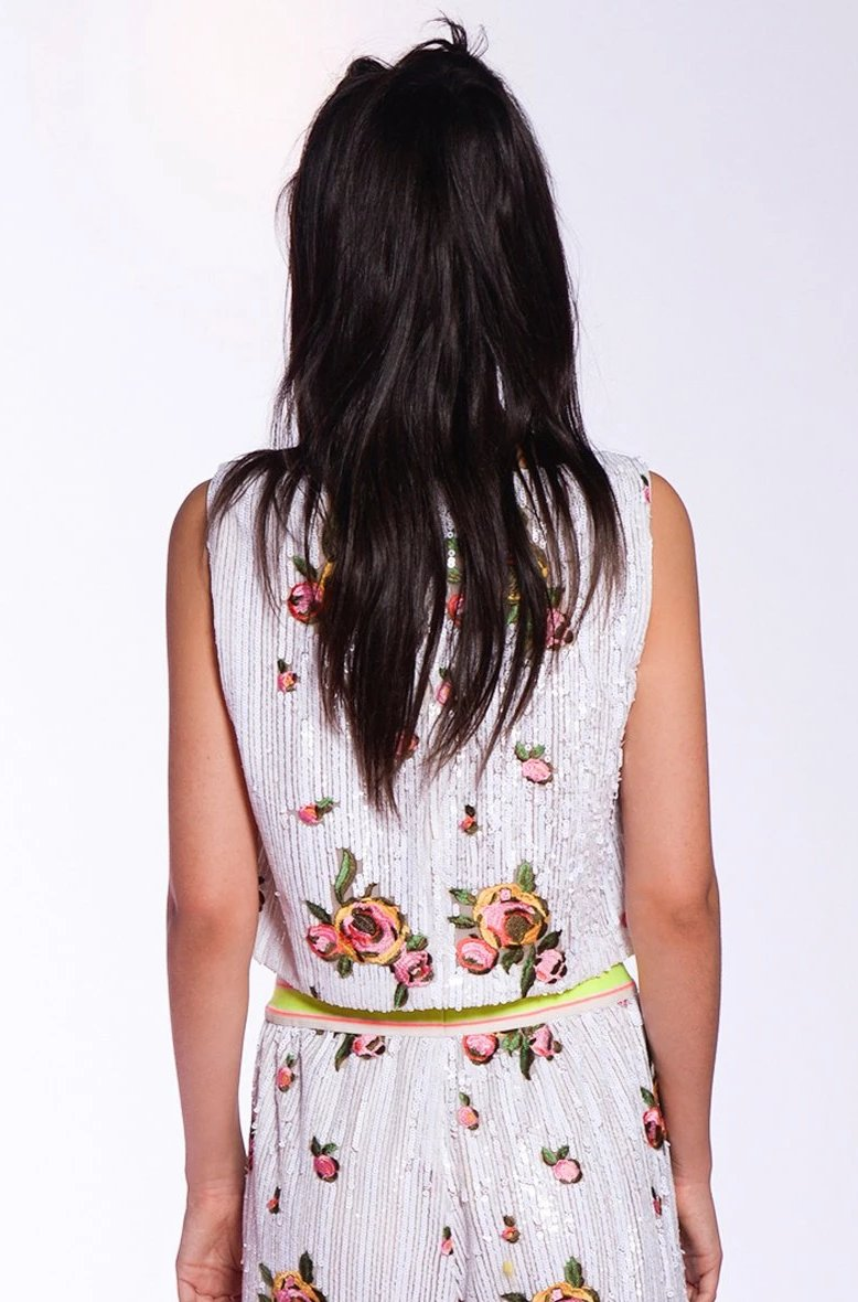 Rose Embroidered Sequins Top - Anna Sui