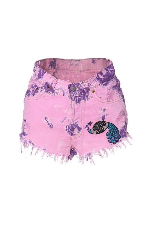 Tie Dye Peacock Patch Levi's Short