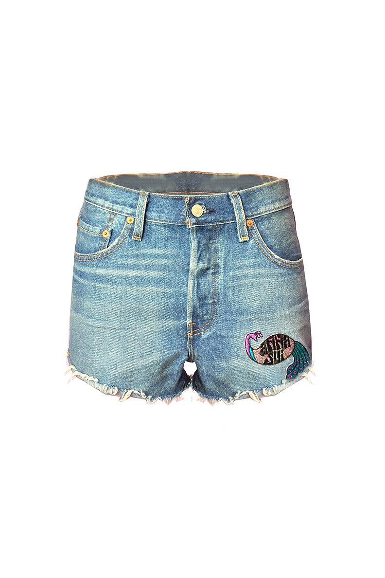 Peacock Patch & Rising Sun Levi's Short - Anna Sui