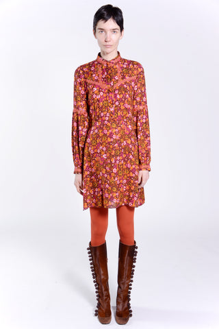 Rose Medallion Border Longsleeve Dress