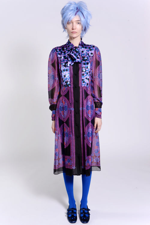 Rose Medallion Border Longsleeve Dress - Anna Sui