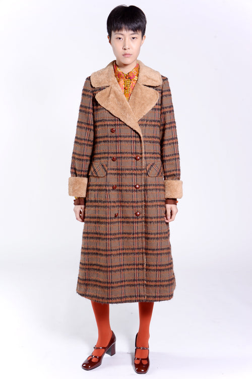 Brushed Plaid Berber Lined Coat - Anna Sui