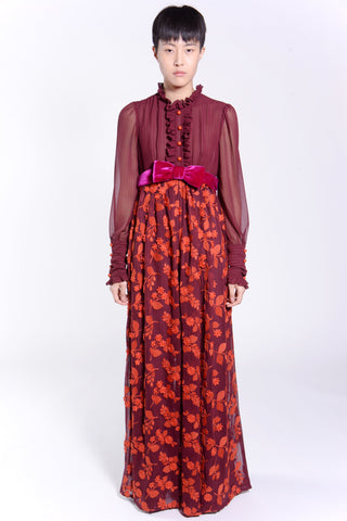 Wild Cherry Border Chiffon Skirt