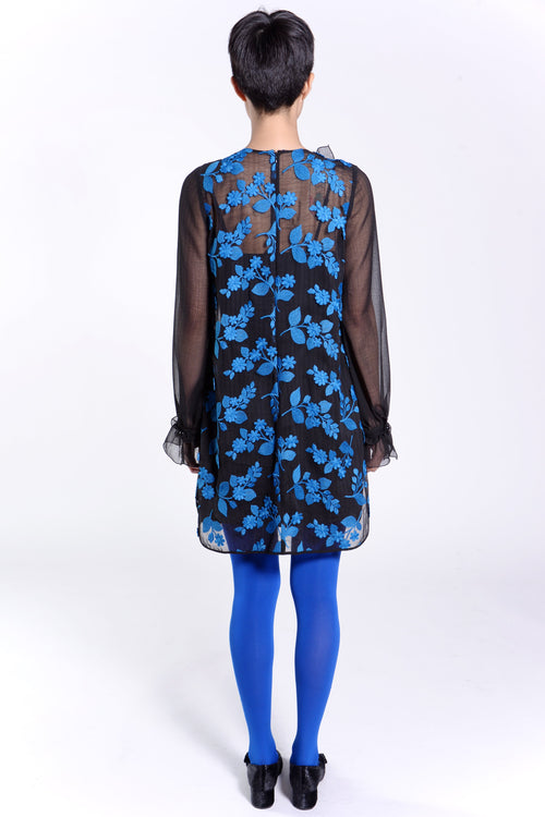 Embroidered Crinkle Stripe Bib Dress - Anna Sui