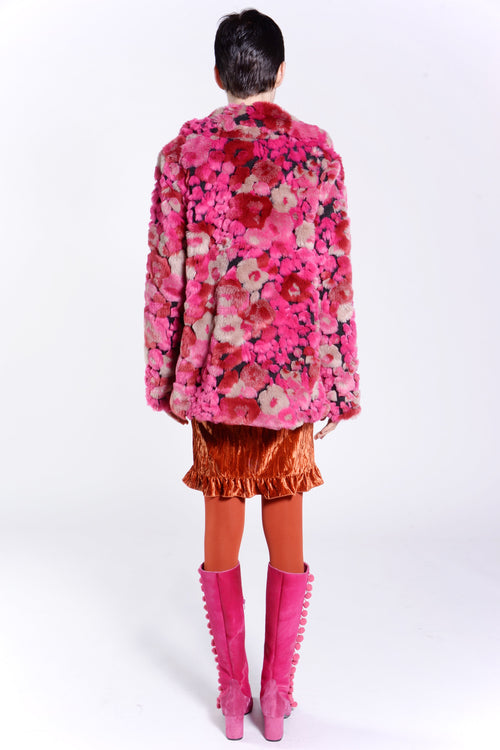 Bed of Roses Faux Fur Jacket - Anna Sui