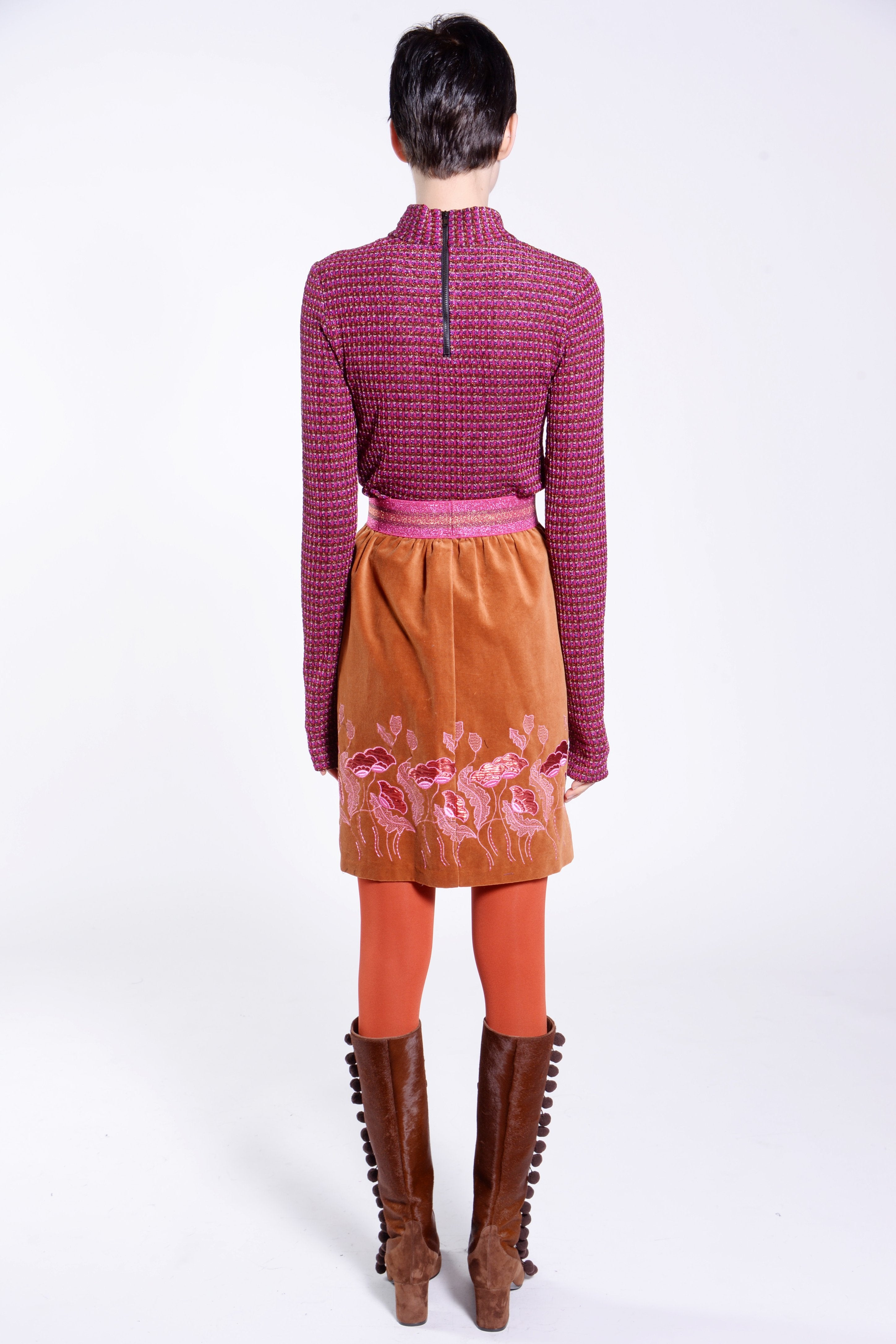 Metallic Checkered Knit Turtleneck - Anna Sui