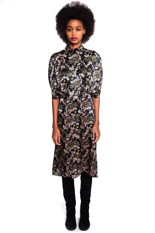 Rosa Vine Mock Neck Dress - Anna Sui