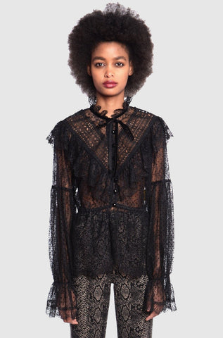 Lady In Black Lace & Velvet House Coat