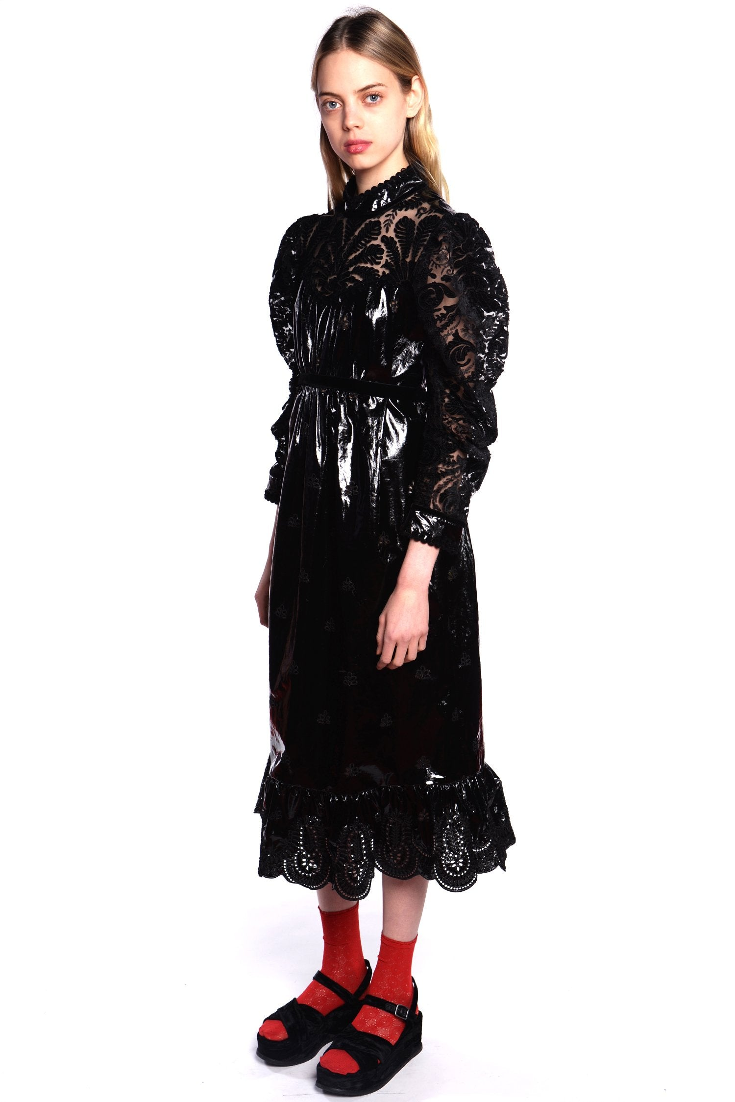 Lady In Black Lace & Velvet Dress - Anna Sui