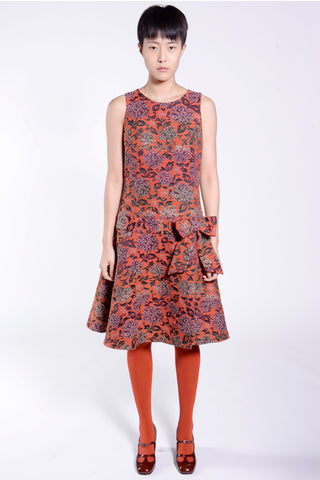Gathering Geraniums Satin Dress